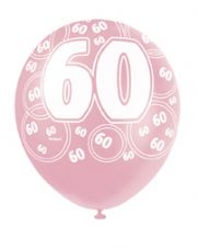 60th Birthday Pink Glitz Latex Balloons 12 inch